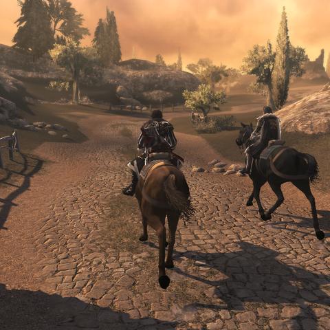 Ezio et Mario chevauchant vers Monteriggioni
