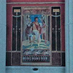 墓室南墙壁画,描绘了正在与兵士共贺战事胜利的亚历山大王