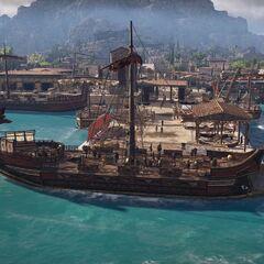 <i>阿德瑞斯提亚号</i>停泊在港口
