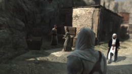 Altaïr podsłuchujący rozmowę przed kradzieżą