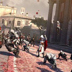 Ezio faisant signe à ses Assassins d'attaquer