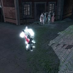 Ezio ramassant un drapeau