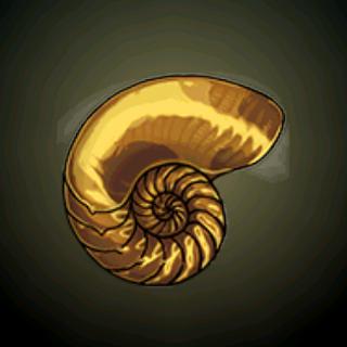 黄金鹦鹉螺 - 作为支架的鹦鹉螺壳被渡上闪闪生挥的金箔。