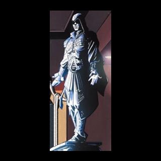 Une statue d'<b>Ezio</b> dans le repère des Assassins de Dubai, en 2000