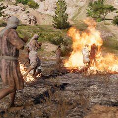 Les habitants se jetant dans les flammes
