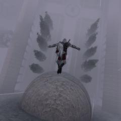 Ezio maakt een dodensprong naar het altaar.