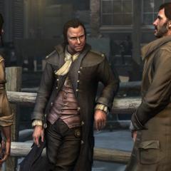 Cyrus à droite avec Samuel Adams et Connor