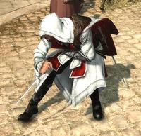 Ezio mierzący z noży do rzucania (by Kubar906)
