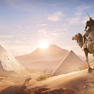 Bayek and Senu on their way to the Pyramids
