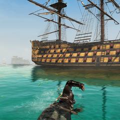 爱德华游向一条不列颠船只