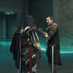 Ezio et <b>Mario</b> quittant le Sanctuaire du Vatican