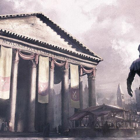 意大利刺客身在万神殿附近这一场景的艺术设定图