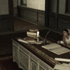 克劳迪娅在奥迪托雷别墅办公桌后