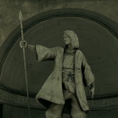 Statue de <b>Wei Yu</b> dans la crypte sous la villa Auditore