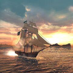 在落日背景的一艘船