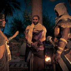 Apollodorus introducing Cleopatra to Bayek