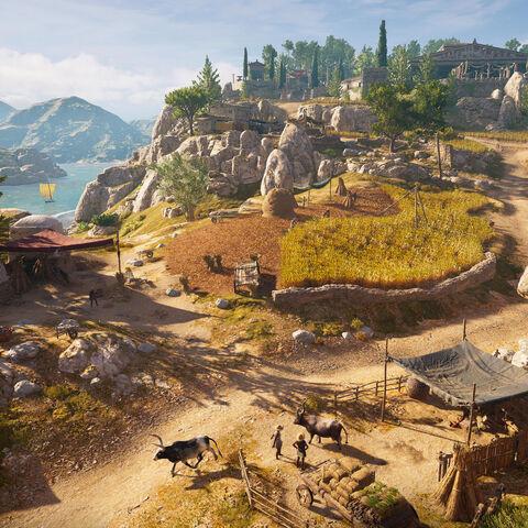 纵览平原盛景。后方是厄琉息斯圣殿