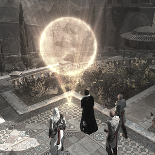 Altaïr, <b>Malik</b> et deux Assassins contemplant le globe émanant de la Pomme