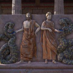 阿斯克勒庇俄斯与许革亚的浮雕,两人身边装饰着两条蛇