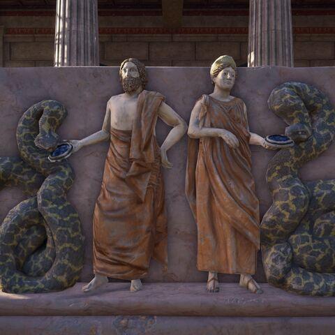 医神父女与蛇的浮雕