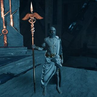 Pythagoras holding the Staff