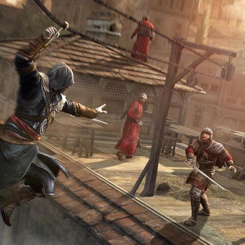 Ezio seilt sich mit dem Haken an einem Seil entlang