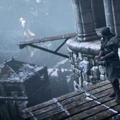 Leandros leading Ezio onto the plank