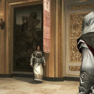Ezio surprenant Lorenzo dans sa cachette