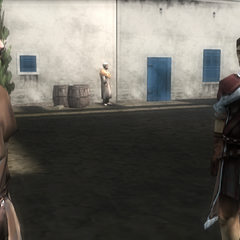 沙利姆和一名卫兵说话