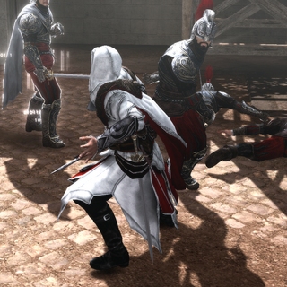 Ezio affrontant les gardes des Borgia