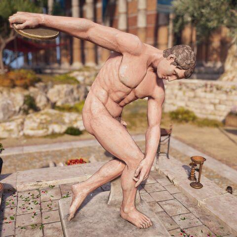 """公元前5世纪希腊的""""掷铁饼者""""彩色雕像"""