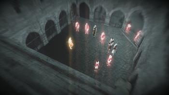 <small>Altaïr używający Wzroku Orła w twierdzy Wilhelma z Montferratu</small>