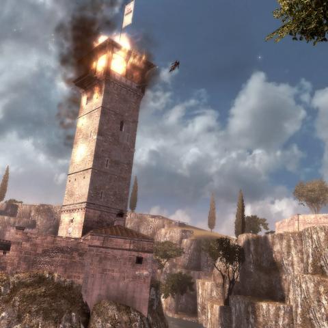 Ezio escaping a burning Borgia tower