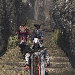 Altaïr escorting Niccolò and Maffeo out of Masyaf