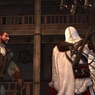 Ezio et Bartolomeo dans ses nouveaux baraquements