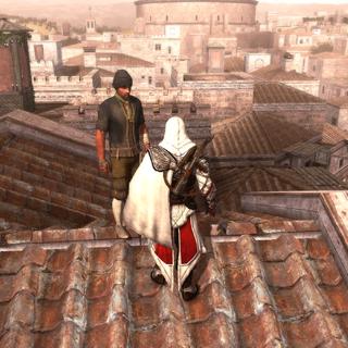 Ezio remettant le contenu du coffre au voleur