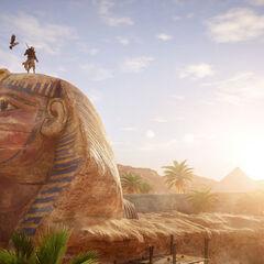 Bayek et Senu au sommet du Sphinx