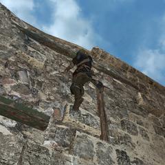爱德华攀爬著堡垒的墙