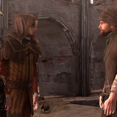 埃齐奥和拉·沃尔佩与一名盗贼交谈