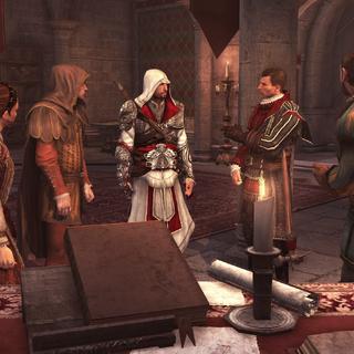 Ezio et les Assassins évoquant la suite de leurs opérations