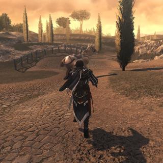 Ezio courant après le cheval