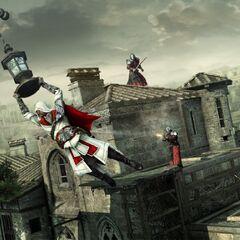 Ezio échappant aux arquebusiers