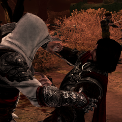 Ezio s'en prenant à Cesare