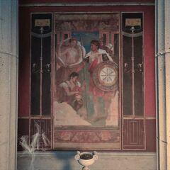 墓室南墙壁画,描绘了正在接受<a href=