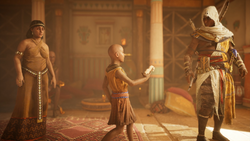 ACO The Scarab's Sting - Kawab Giving Bayek His Toy