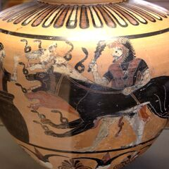 A painting from 6th century BCE featuring Herakles bringing Cerberos to Eurystheas