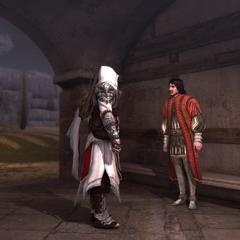 Ezio évoquant les intentions du maître à Copernic