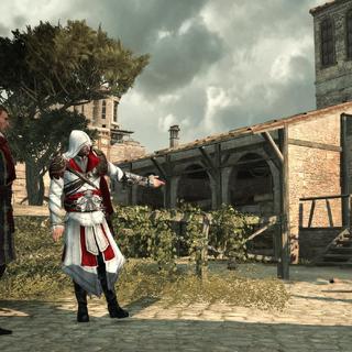 Ezio et Machiavelli ré-ouvrant les écuries