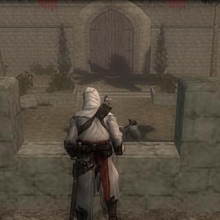 Altaïr espionnant la cour intérieur du <b>château</b>
