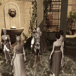 Ezio blending with a group of courtesans